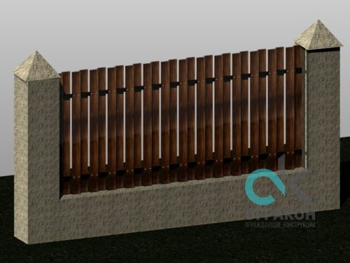 Забор бетонный с деревом