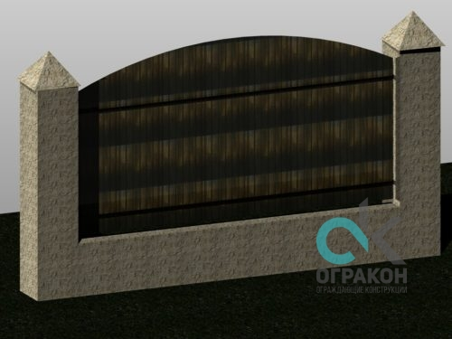 Забор из бетонных блоков и поликарбоната