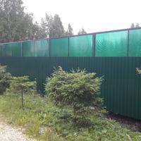 Производство и установка комбинированного забора из профильного листа и поликарбоната, откатных ворот, калитки, забора из профильного листа.